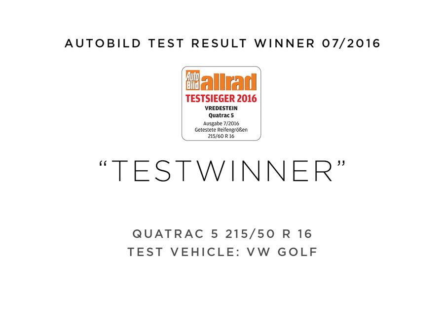 Vredestein testwinnaar Autobild 2016